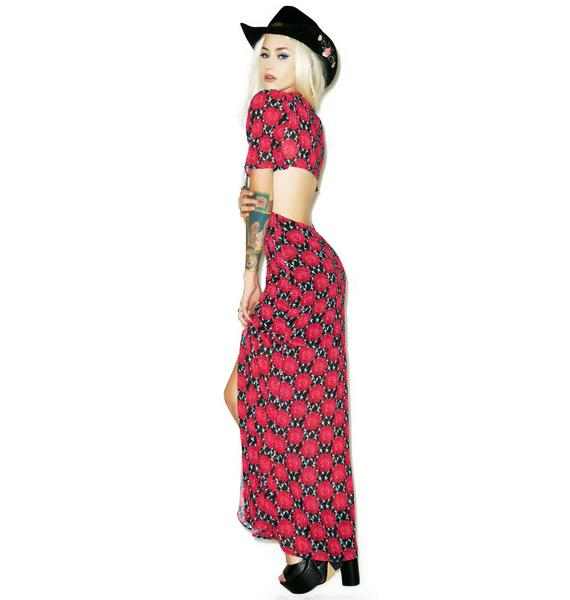 For Love & Lemons Clover Maxi Dress in Crimson