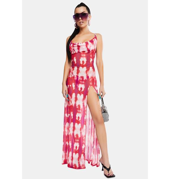 Jaded London Tie Dye Print Cowl Neck Maxi Dress