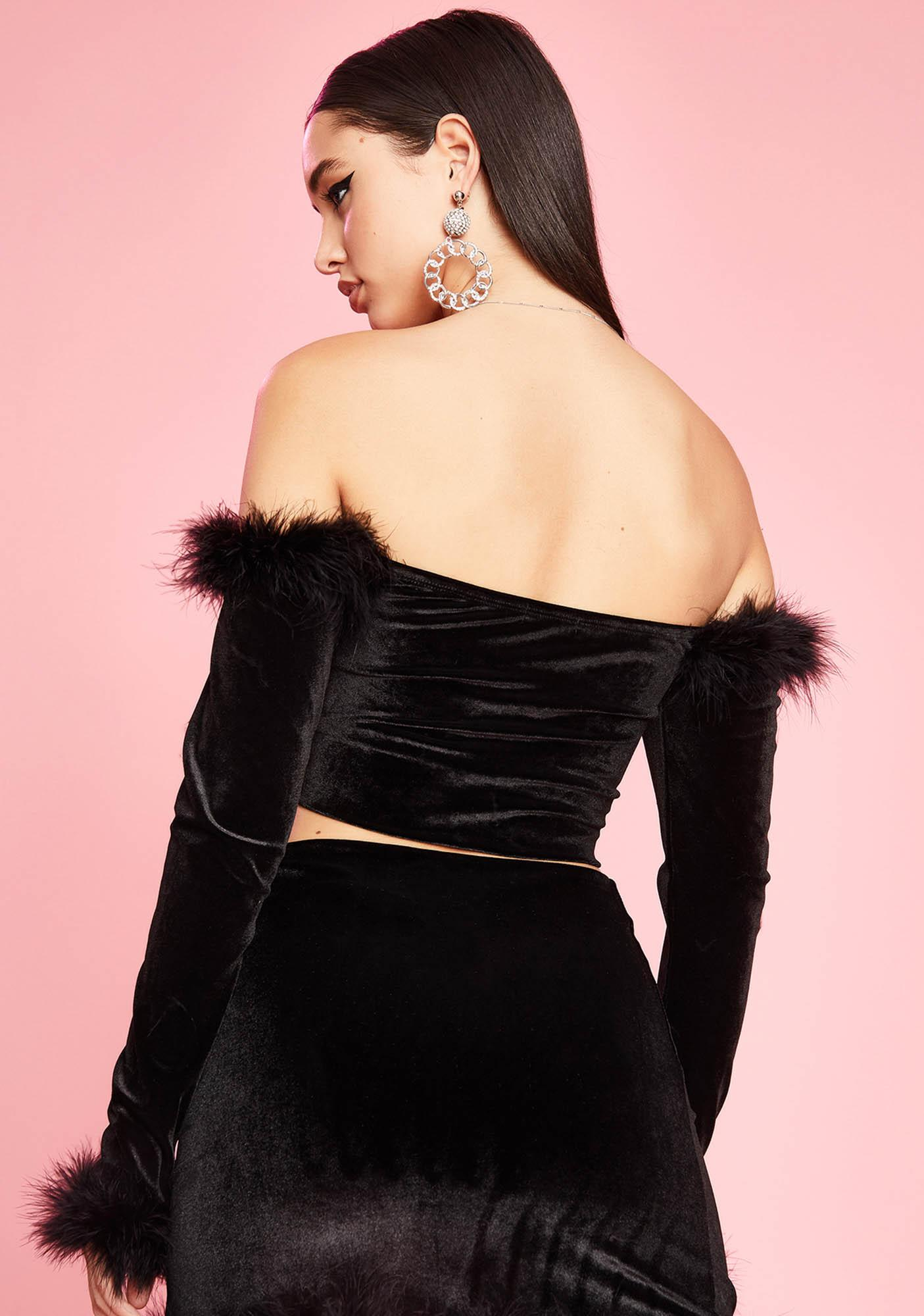 Sugar Thrillz Filthy Femme Velvet Crop Top