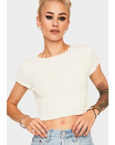 Ivory Pointelle Sweater Tee