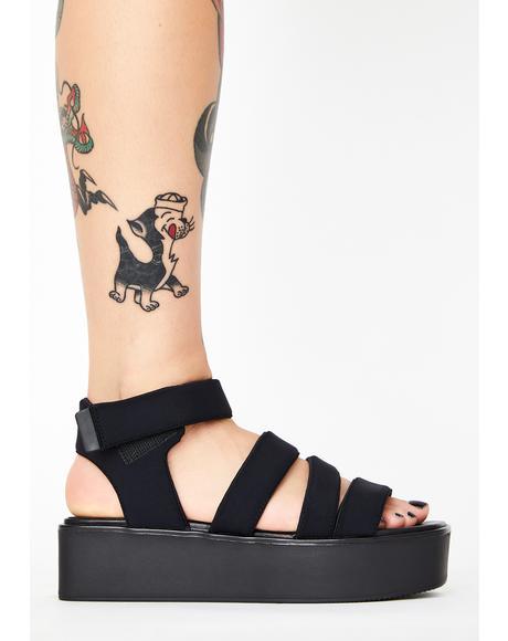 Black Textile Bonnie Gladiator Sandals