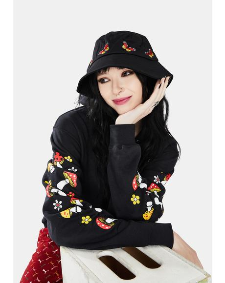 Noir It's A Breeze Butterfly Embroidered Bucket Hat