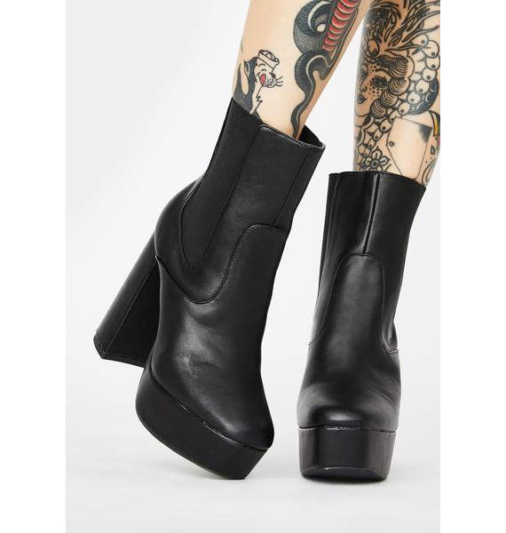 Public Desire Diversion Black Platform Ankle Boots