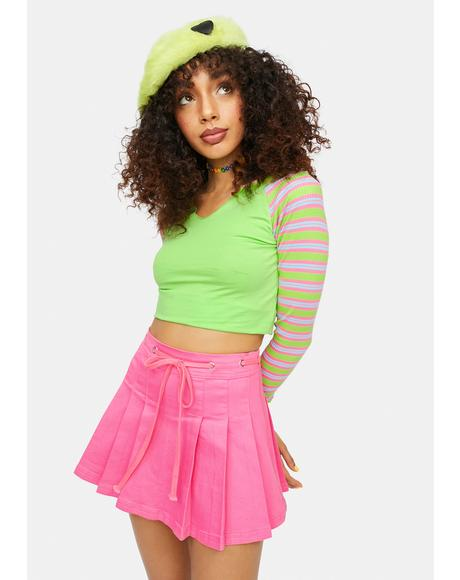 Kaleidoscope High Pleated Twill Mini Skirt