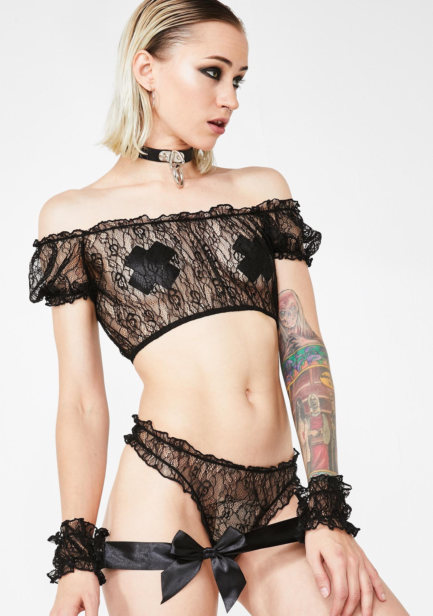 06ddeca6a22 Sheer Crop Top Thong Cuffs Lingerie Set