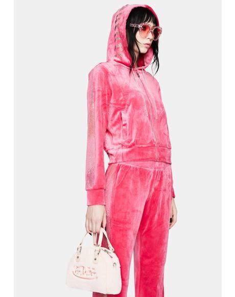 Party Pink Rhinestone Zip Up Hoodie
