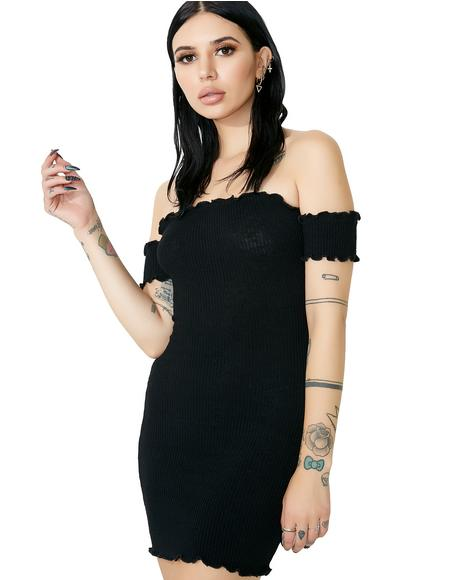 Onyx Slim Chance Off-Shoulder Dress