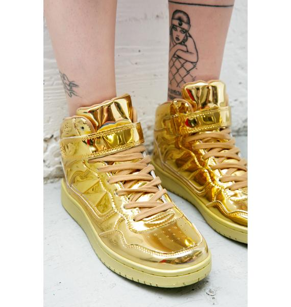 Gold Digger Metallic High Top Sneakers