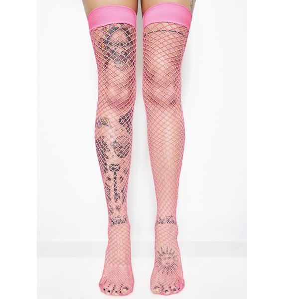 Sweet Deadly Kissing Fishnet Thigh Highs