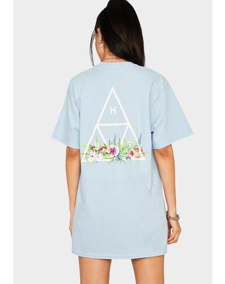 Light Blue Botanical Garden Triple Triangle Graphic Tee