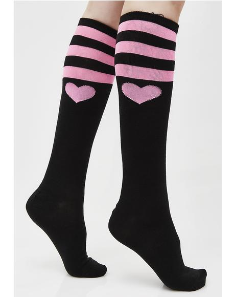Tough Heart Striped Knee Socks