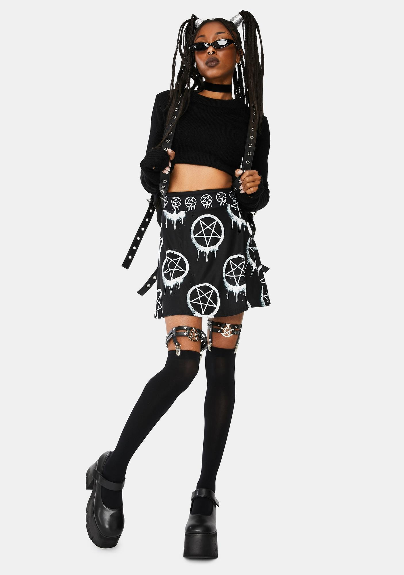 Too Fast Melt With You Pentagram Skater Skirt