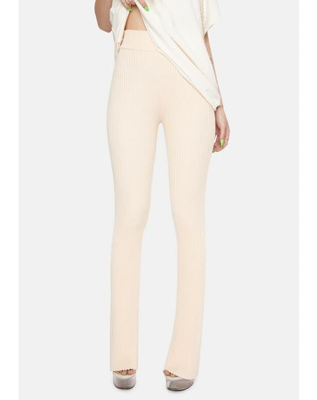 Light Peach Ribbed Flare Pants