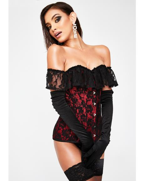Red Off The Shoulder Lace Corset