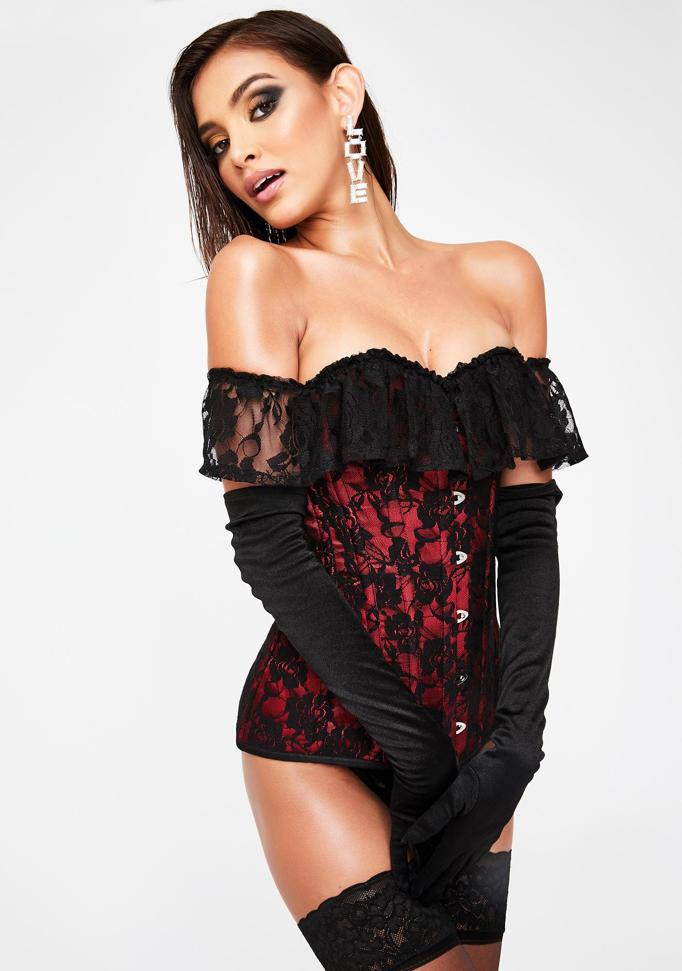 Daisy Corsets Red Off The Shoulder Lace Corset