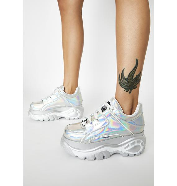 Buffalo London Holographic Silver Classic Low Leather Sneakers