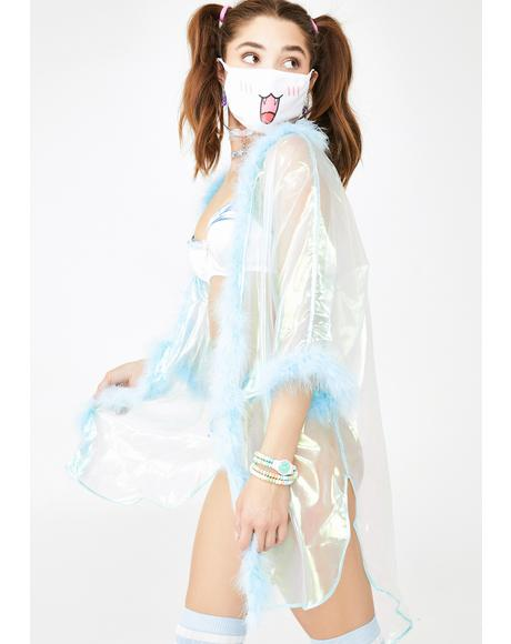 Wavy Iridescent Fab Kimono