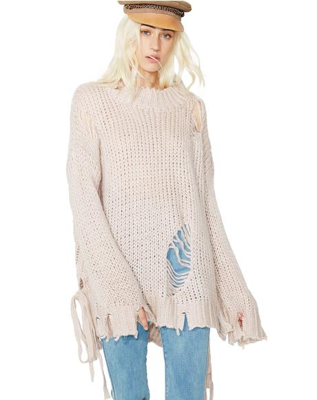 Stressed Out Distressed Sweater