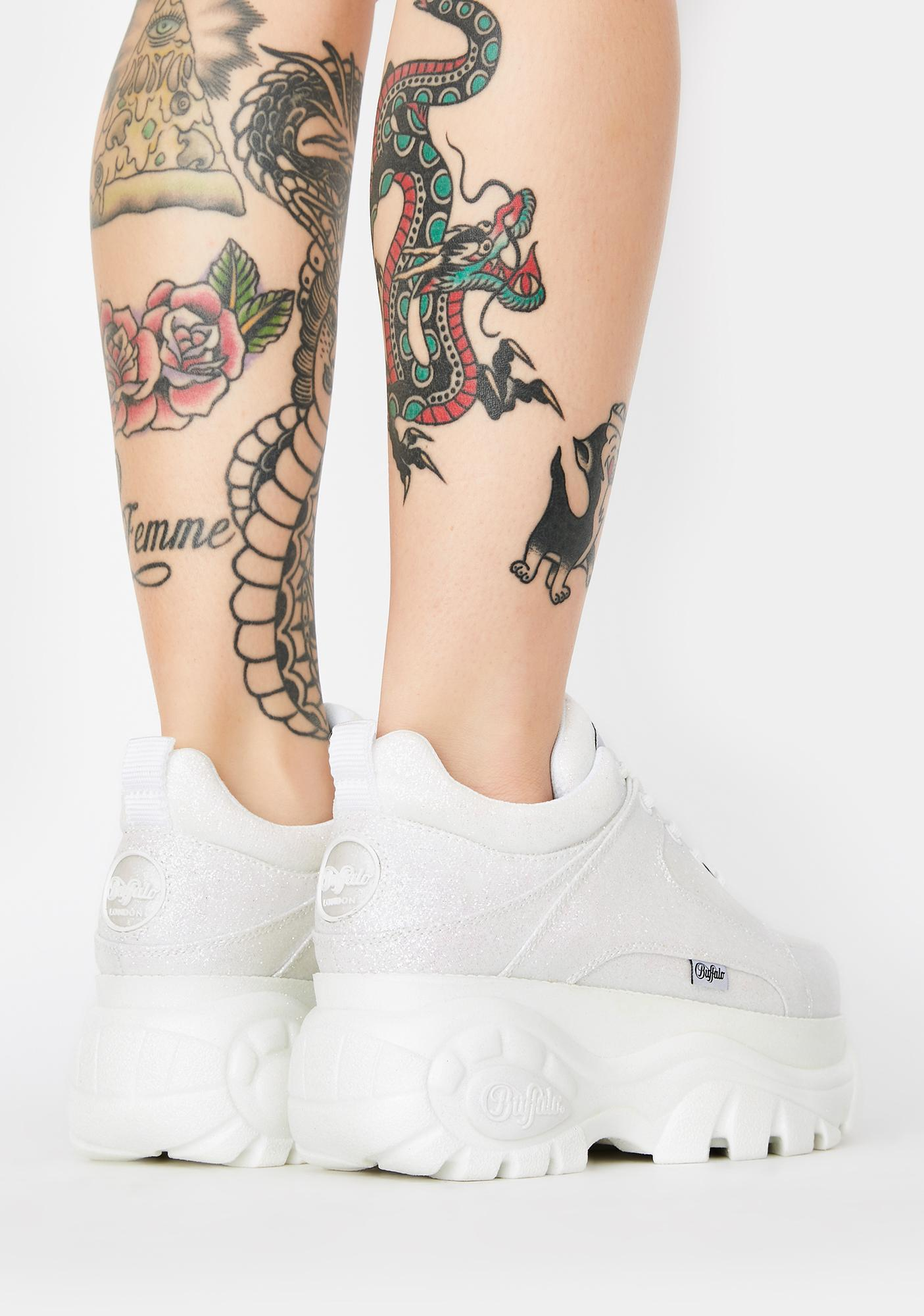 Buffalo London White Glitter Classic Low Leather Sneakers