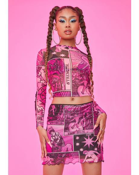 Changing Fate Tarot Print Mesh Skirt