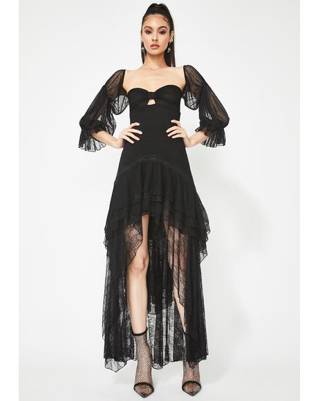 How Dramatic Tulle Maxi Dress