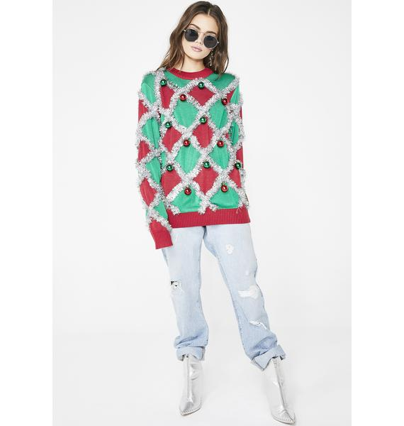 Tipsy Elves Diamond Tinsel Sweater