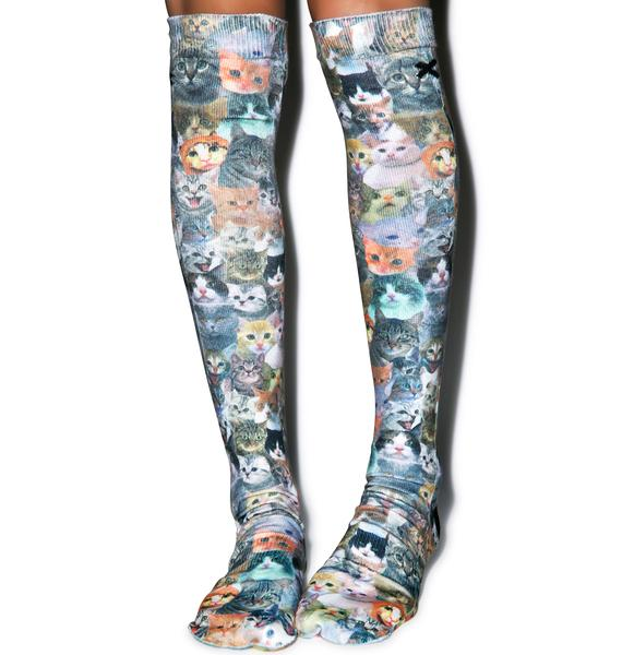 Odd Sox Cat Knee High Socks