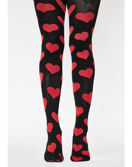 Red What's Love Got To Do With It Opaque Tights
