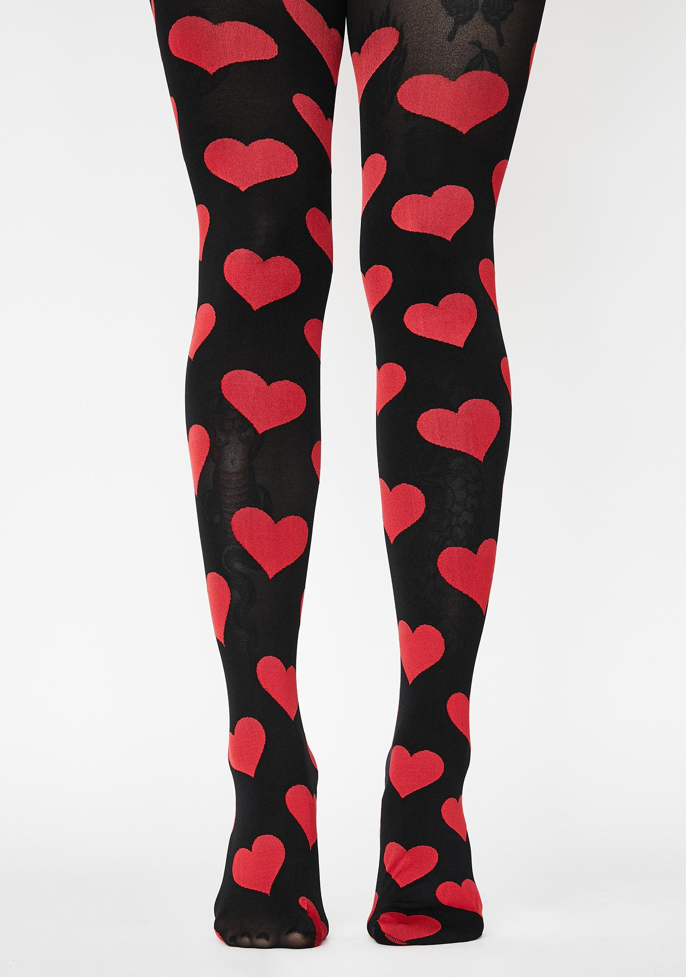 MeMoi Red What's Love Got To Do With It Opaque Tights