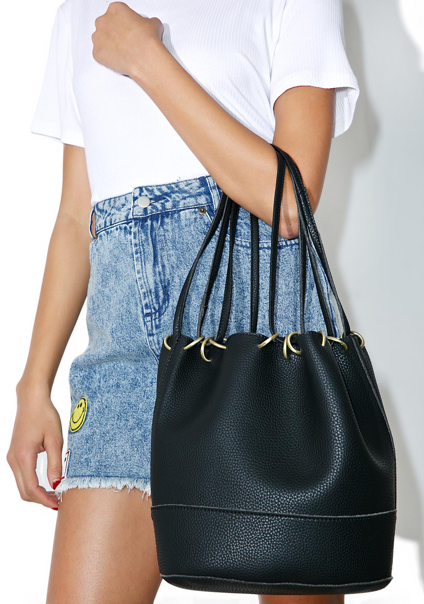 Black Classic Ring Bucket Bag
