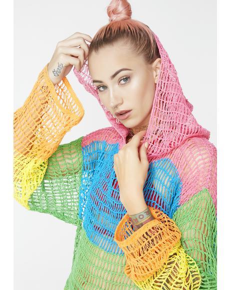 Sorbet Shortie Crochet Hoodie