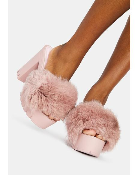 Mauve Wine & Dine Fuzzy Heels