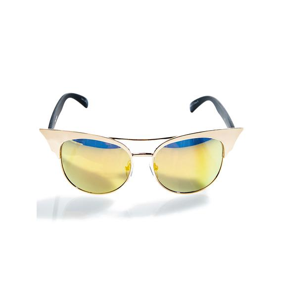 Quay Eyeware Gold Zig Sunglasses