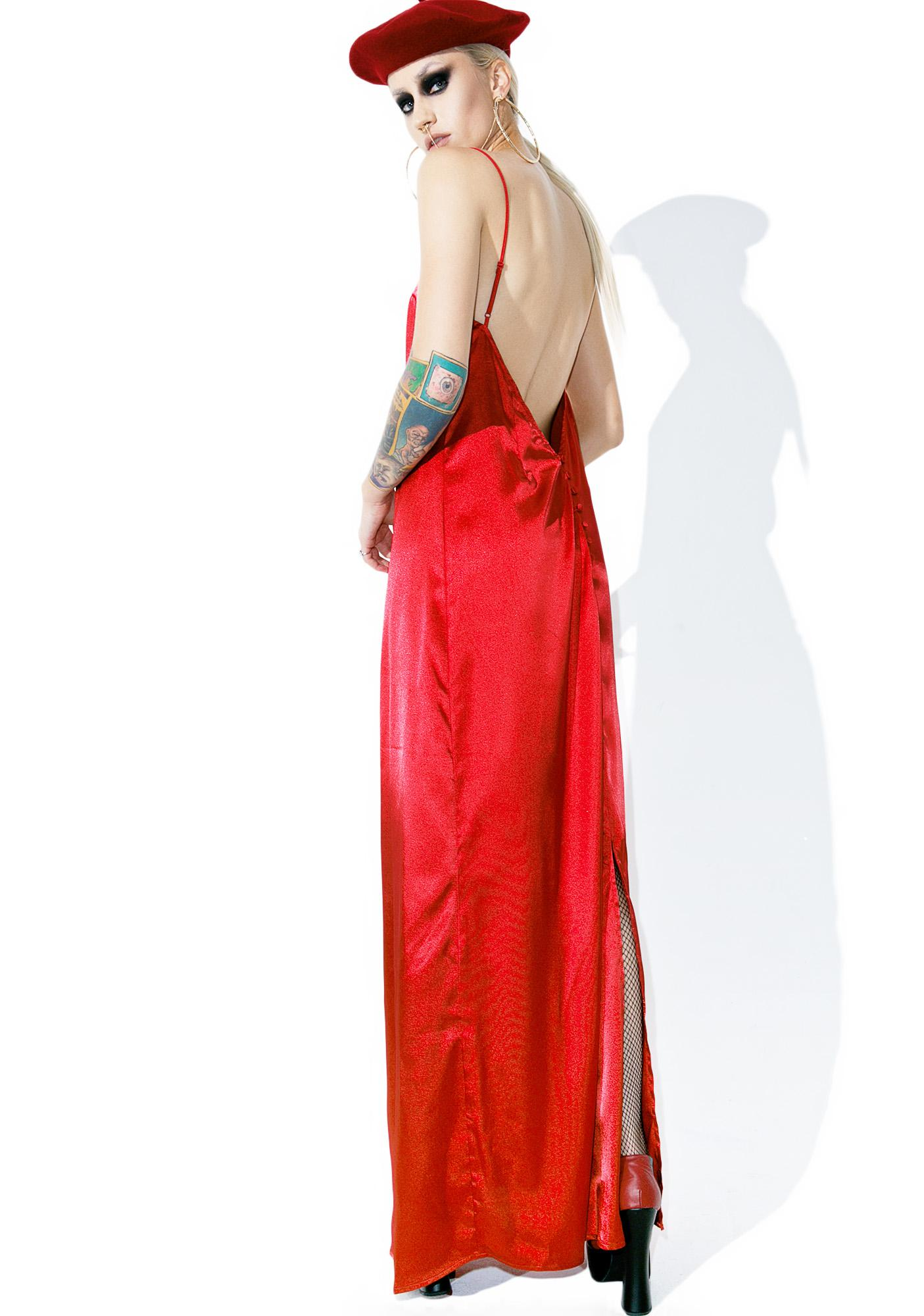 Temptress Satiny Maxi Dress