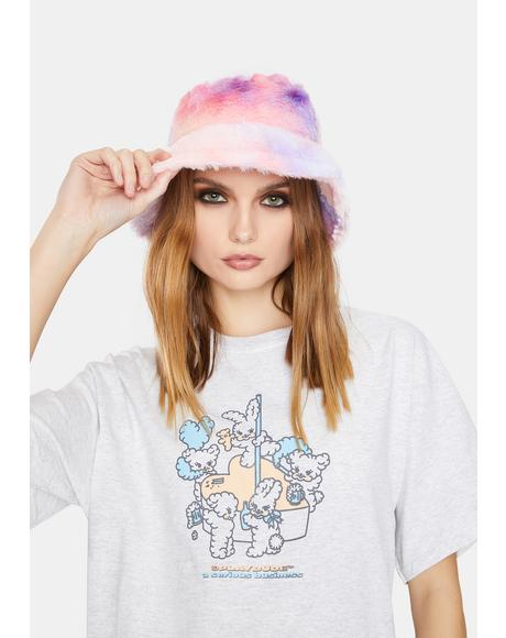 Lilac Take Me Back Faux Fur Bucket Hat