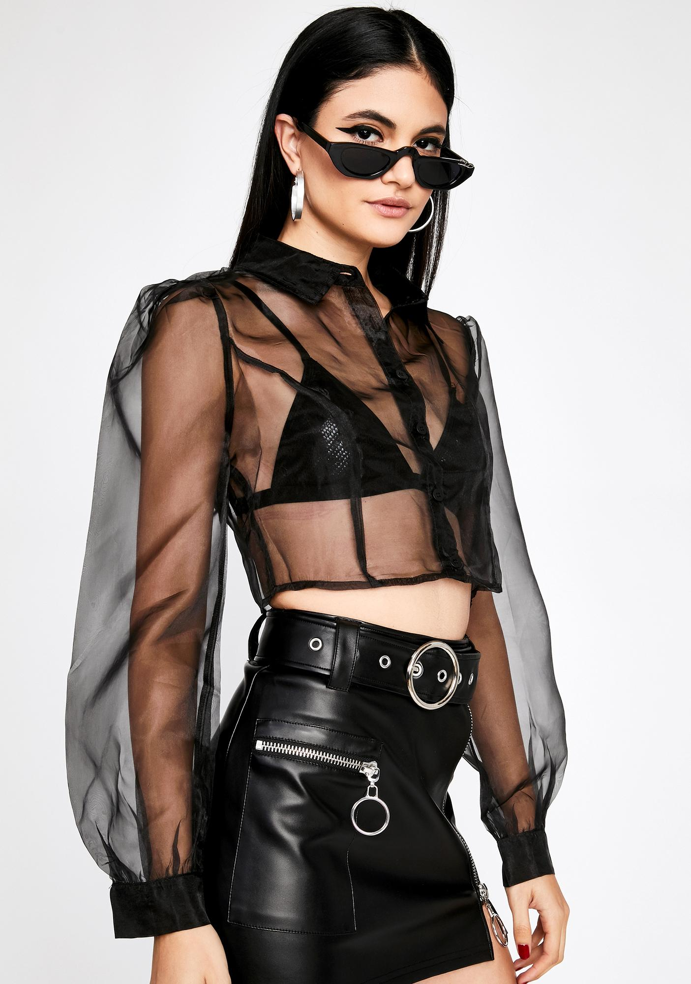 Designer Drip Sheer Blouse