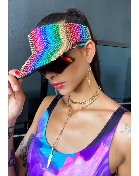 Rainbow Beaded Visor