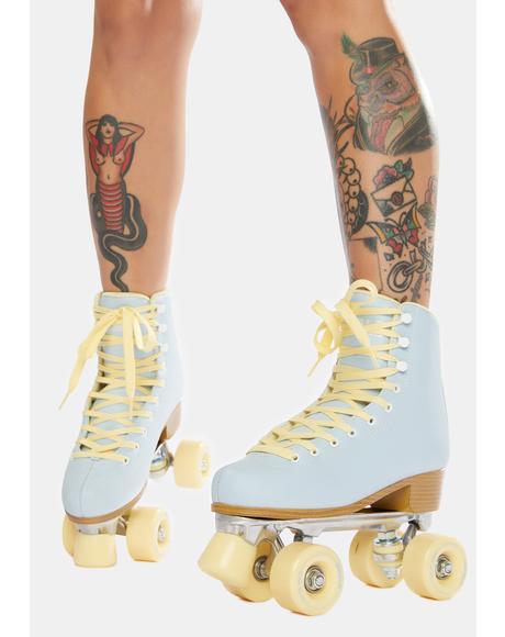 Sky Blue Quad Roller Skates