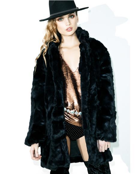 Crystal Visions Faux Fur Coat