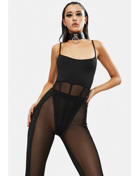 Baddie Alert Mesh Bodysuit & Leggings Set