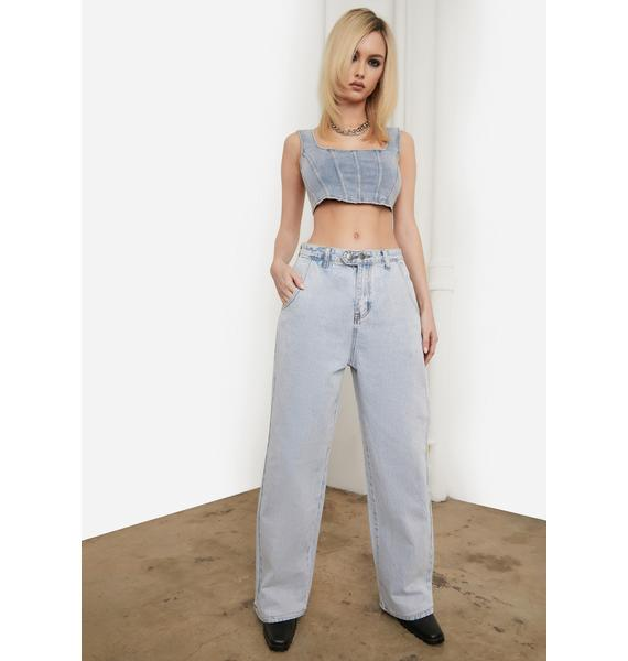 Reality Zone Double Button Waist Straight Leg Jeans
