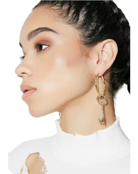 Unlocked Dangly Key Earrings