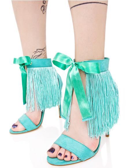 Mint Francine Fringed Heels