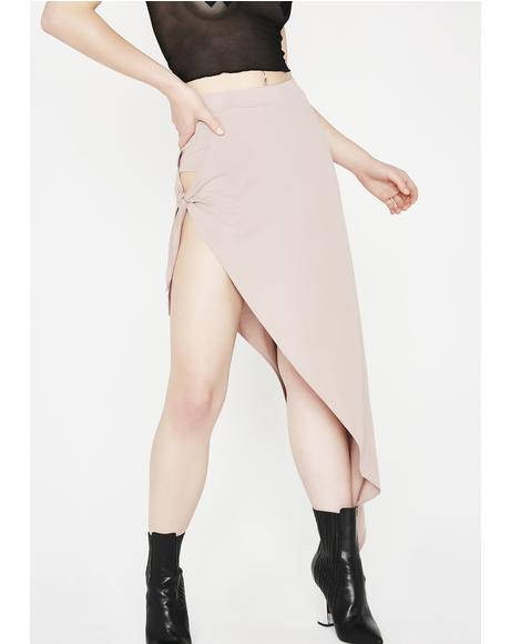 Mauve Give No Chances Side Tie Skirt
