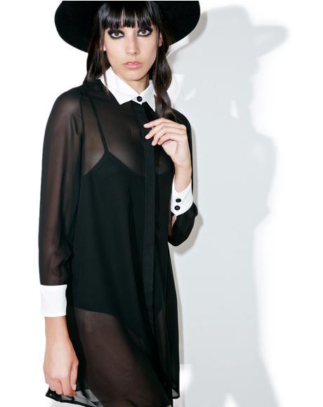 Wednesday Chiffon Shirt Dress