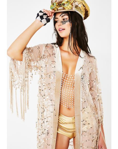 Gold Dust Woman Sequin Kimono