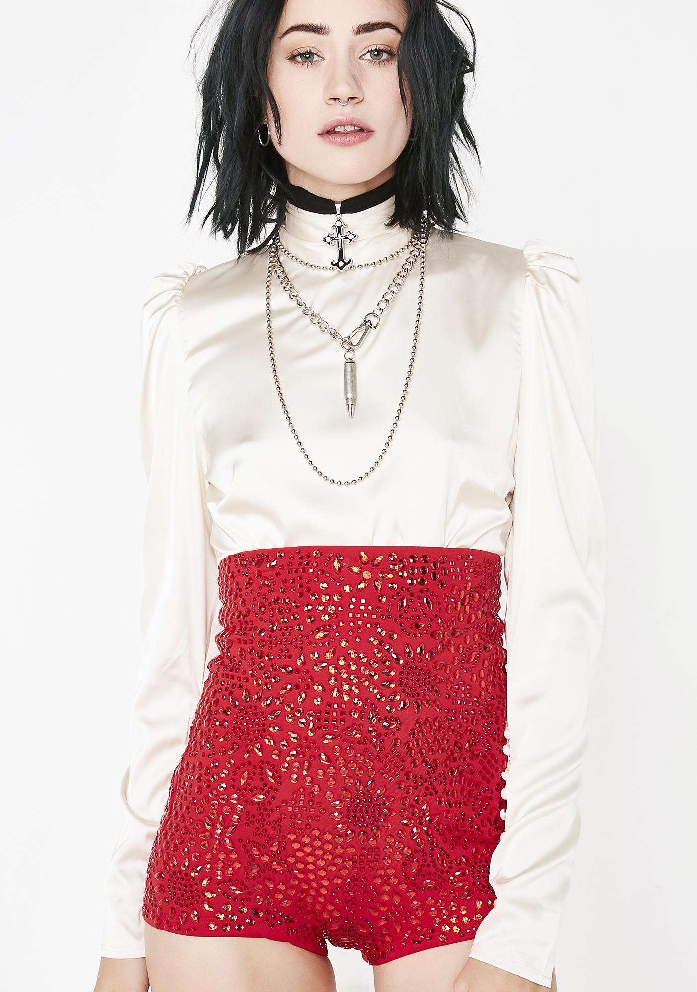 Kiki Riki Fire Crystallized Chaos Sequin Short