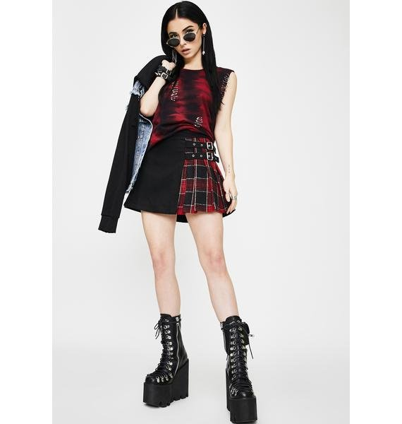 Punk Rave Checkered Pleated Mini Skirt