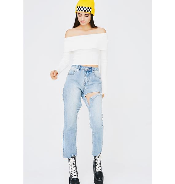 Icy Great Minds Off The Shoulder Sweater