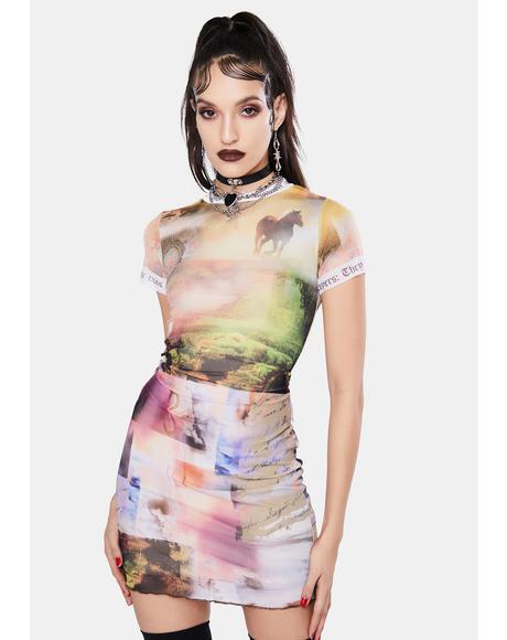 Scenic Print Mesh Mini Dress
